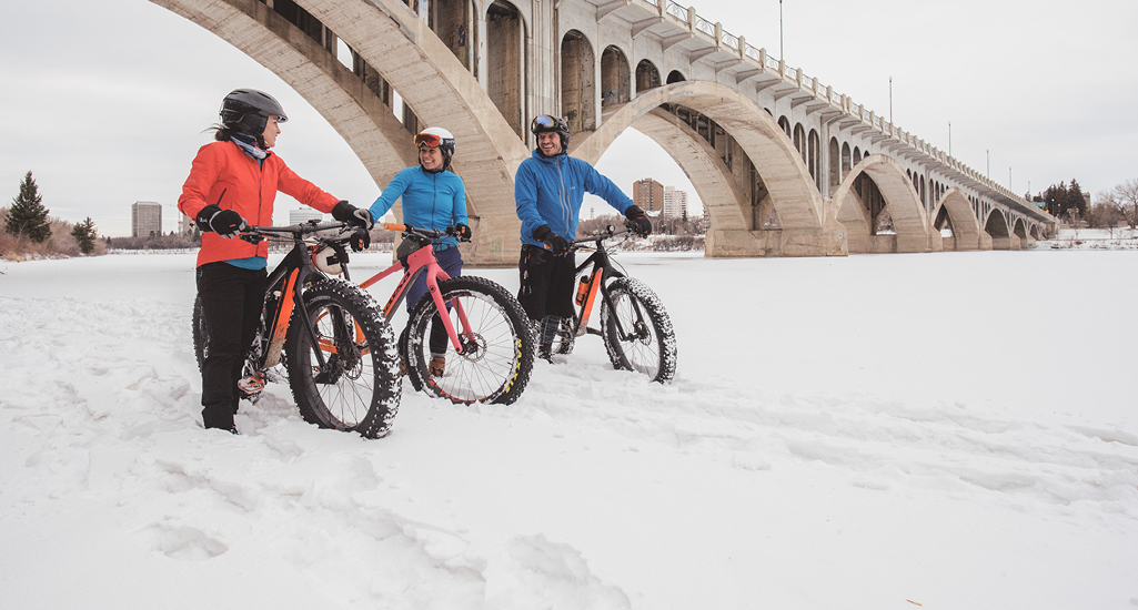 Winter biking along the shores of the South Saskatchewan River in the city of Saskatoon