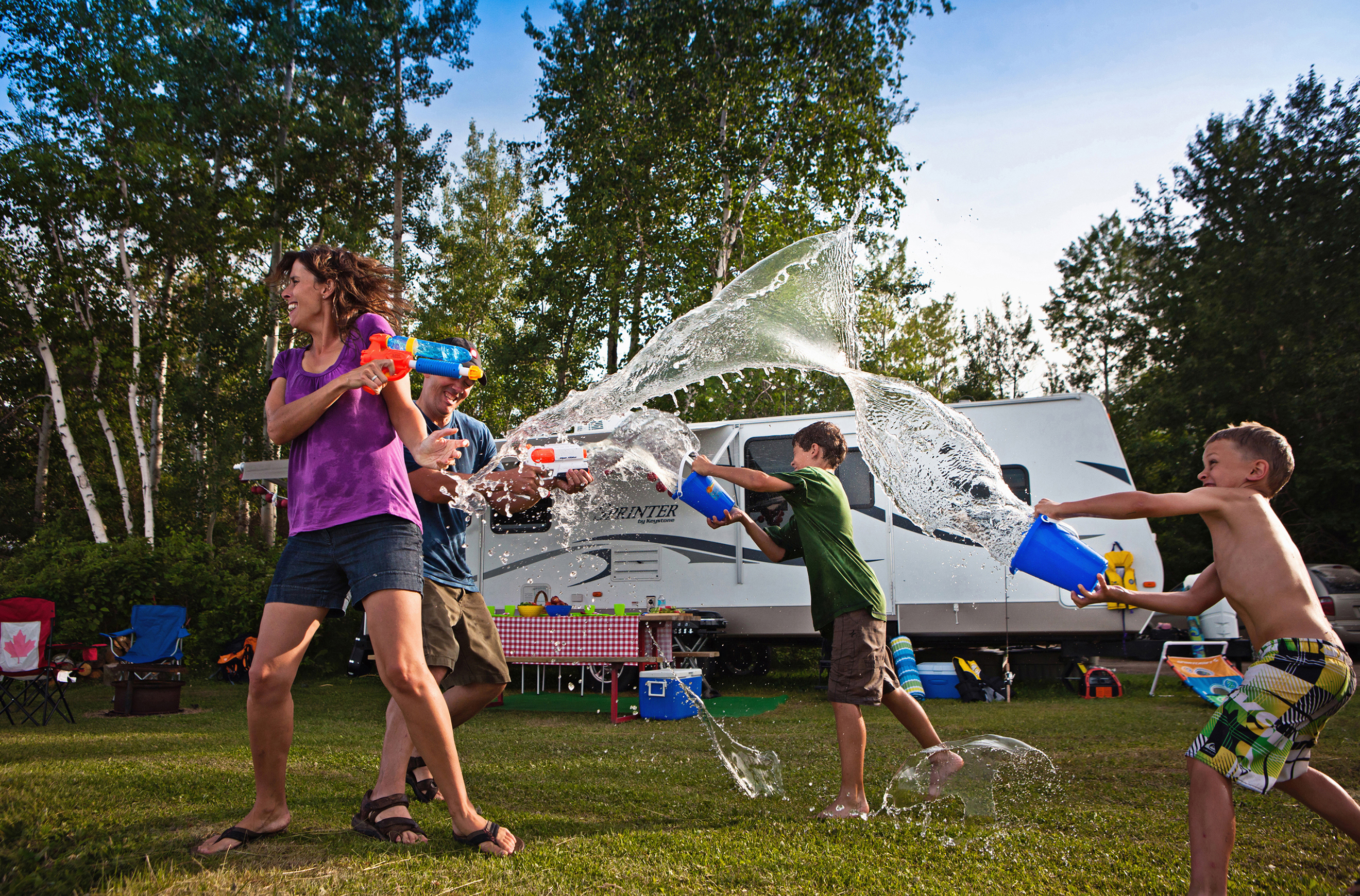 Tobin Lake Water Fight Family Camping